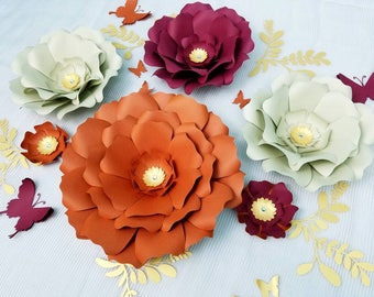 Large flowers wall. Giant red flowers wall. Nursery flower wall. Fall decor, Fall paper flowers, Paper flowers backdrop, Red paper flowers