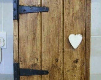 White Heart handle Cottage Rustic style solid wood wall cupboard