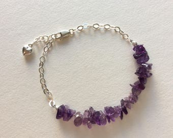 Amethyst  Bracelet, Sterling Bracelet, February Birthstone, Birthday Gift, Gift for Her, Dainty Bracelet, Sterling,
