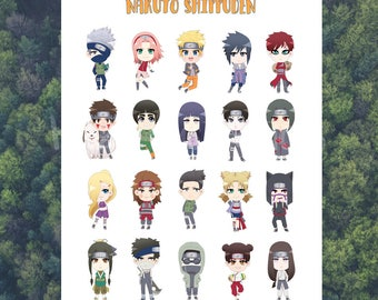 Naruto Shippuden Glossy Mini Sticker Sheet