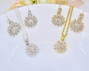 Wedding earrings and necklace set, Bridal earrings and necklace set, bridesmaid earrings, bridal gold earring, necklace set, gifts for her