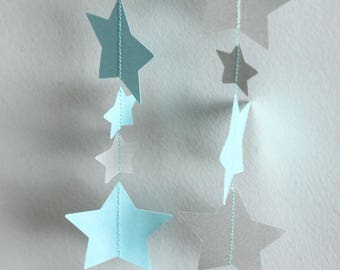 Silver Star paper Garland and blue stars