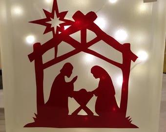Lighted Glass Block Manger, Holiday, Christmas, Joseph and Mary, Jesus, Bethlehem