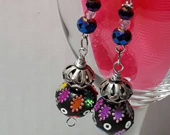 Colorful Ball Earrings with Silver Tone Accents