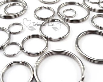 Double Split Rings, Key Rings, Steel Nickel Plated 15, 16, 20, 24, 25, 30, 32, 35mm, Jewellery Findings, Ideal for Keys and Crafts, KRS
