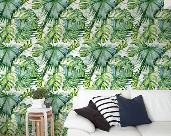 Monstera Wallpaper, Removable Wallpaper, Tropical Wallpaper, Tropical, Wallpaper, Jungle, Leaves Wallpaper, Jungle Wallcovering - A214