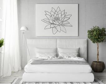 Flower lotus wall decor print. Minimalist line art. Digital black and white poster. Bedroom wall decor.