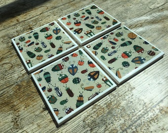 Set of Four Bug Pattern Coasters
