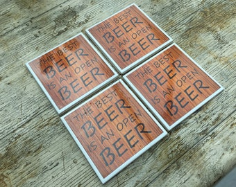 Set of Four Beer Themed Ceramic Coasters