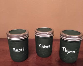 Set of 3 Painted Mason Jars - Black - Dry Herb Storage Jars