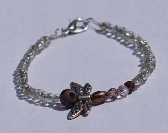 Clear dragonfly beaded bracelet