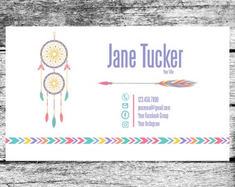 LuLaRoe Inspired Dream Catcher Business Cards Home Office Approved Colors Fonts