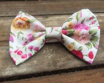 Hair bow, floral hair bow, floral hair clip, hair clip, white hair clip, fabric bow