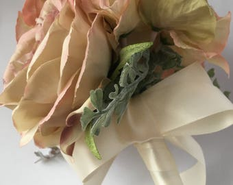 Peach English Rose and Ivory Flower Girl Wand Brides Bouquet Silk Artificial Ever-lasting Bridesmaid Wedding Flowers Handmade