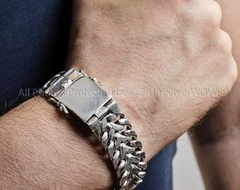 Herringbone Unique Mens Silver Bracelet - 20mm Version. Solid Sterling Silver
