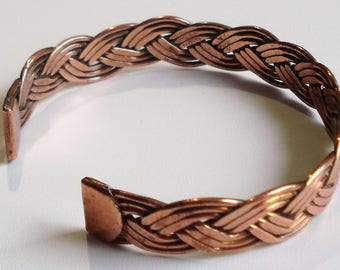 Vintage Braided Copper Open Back Cuff Bangle
