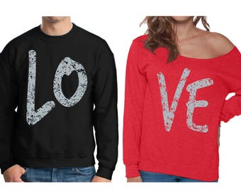 Couples Love Sweatshirts Love Off Shoulder Sweatshirt Valentine's Day Matching Outfits for Couples Anniversary Gifts for Husband and Wife