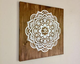 Wood Om Mandala Art, Rustic Decor, Boho Home Decor, Beach House Wall Art, Mandala Painting, Yoga Art, Timber Art, White Mandala on Wood
