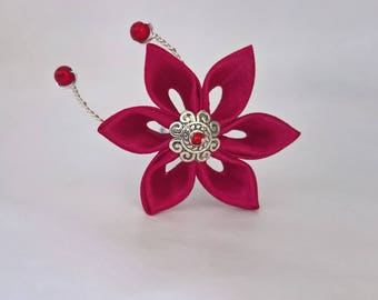 Burgundy satin flower hair pins