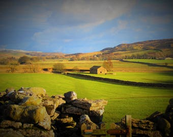 Afternoon Sun A6 Greetings Card, Yorkshire Dales