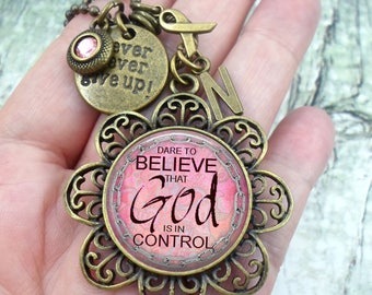Dare To Believe That God Is In Control Breast Cancer Necklace, Never Give Up, Pink Crystal, Initial Charm, All Sizes, Get Well Jewelry