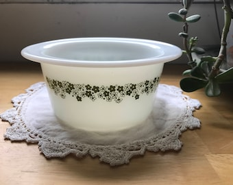 PYREX, Crazy Daisy Pattern, Milk Glass, Fruit Bowl, Butter Dish, Green Flowers, #75, Corning NY, USA