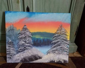 One of a Kind Snow Scene Oil Painting on Canvas