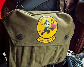Hand-painted vintage military canvas shoulder bag with logo