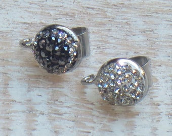 Pave Cz Silver Crystal Bail with Loop Black or Clear Crystals