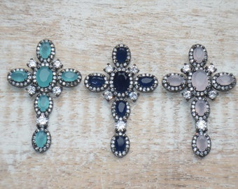 Vintage Style Cz and Swarovski Gunmetal Cross Charms