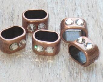 Regaliz Antique Copper Crystal Spacer Bead, Spacer Bead, Slider Bead