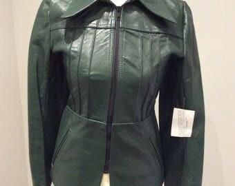 Vintage 1970's dark green leather jacket