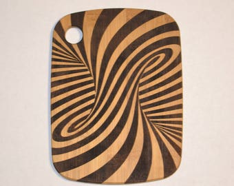 Optical Illusion Laser Engraved Bamboo Cutting Board