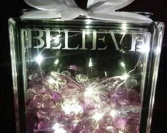 Decorative Believe Glass Light Box