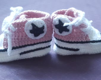 Pink Crochet Baby Booties, Handmade Sporty Baby Booties- FREE SHIPPING