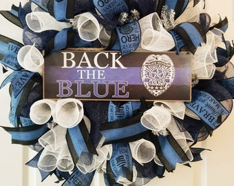 Back the Blue Poilice Wreath - LEO Wreath - Law Enforcement Wreath