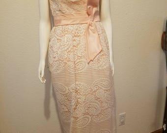 1950's Vintage Lace Overlay Dress