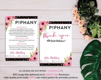 Piphany Care Instruction Card, Piphany Thank You Card, Woodend Background, Custom Piphany Marketing, Printable Card - Digital file PP07