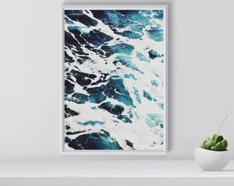Sea Foam Print, Ocean Waves Poster, Coastal Art Print, Ocean, Water, Modern Wall Art, Digital Download, Home Decor, Gift for Her