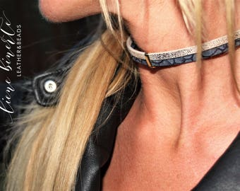 NOT AVAILABLE Handmade double PU leather chokers with gold or silver details