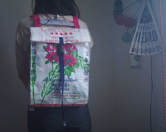 Upcycled Rice Bag Backpack