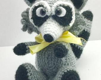 Sully the CROCHET RACCOON SOFTEE, Crochet toy, Stuffed raccoon, handmade original, handmade crochet toy, crochet raccoon toy, raccoon toy,