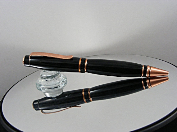 Handcrafted Cigar Pen in Antique Copper Finish and Coal Mine Acrylic