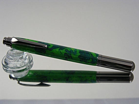 Handcrafted Rollerball Ink Pen in Gunmetal and Jungle Moss Acrylic