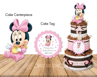 Personalized Baby Shower Baby Minnie Mouse First Birthday 1st Birthday Party Cake Centerpiece Cake Tag Sticker Pink Diaper Cake DIY -Digital