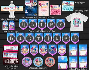 Personalized Shimmer and Shine Genies Birthday Party Kit Bundle Package Supplies Pennants Banner Shirt Wrapper Printable DIY - Digital File