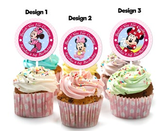 Personalized Baby Minnie Mouse Cupcake Topper Thank You Tag Favor Tags Labels Sticker Polka Dots Birthday Party Printable DIY - Digital File