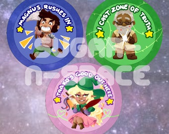 The Adventure Zone (TAZ) Buttons - Taako, Magnus, and Merle pins