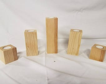 Wood Pillar Candle Holders, Set