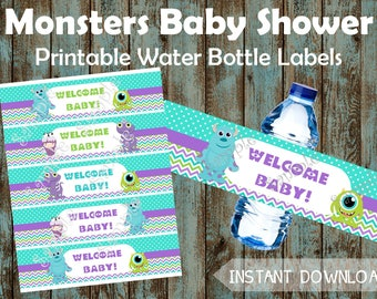 Monsters Baby Shower Water Bottle Labels, Monsters Water Labels, Monsters Party Supplies, Monsters Water Label, Monsters Baby Shower Favors